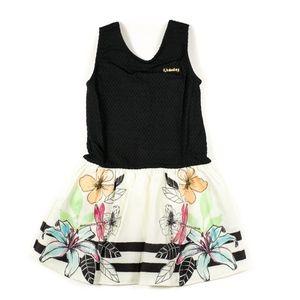 Girls Black Floral Dobby Dress Size 6